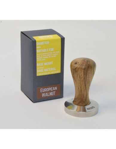Brooks 58mm rvs tamper met europees walnoot